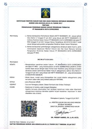 Keputusan Menteri Hukum dan Hak Asasi Manusia Republik Indonesia